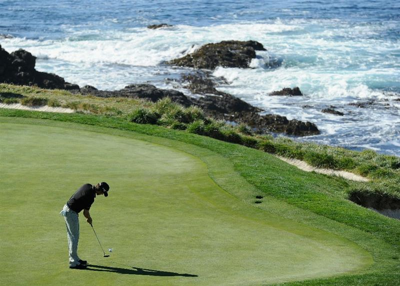 PEBBLE BEACH, CA - FEBRUARY 11:  Aaron Baddeley of Australia putting on the seventh hole during the second round of the AT&T Pebble Beach National Pro-Am at the Pebble Beach Golf Links on February 11, 2011  in Pebble Beach, California  (Photo by Stuart Franklin/Getty Images)