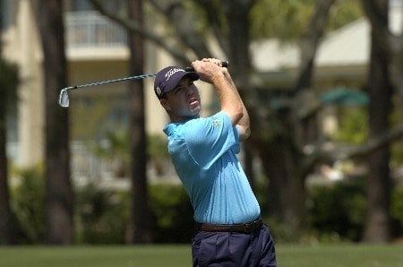 Arron Oberholser  drives from the first tee during the April 13, 2005 Pro Am at the MCI Heritage at Hilton Head Island.Photo by Al Messerschmidt/WireImage.com