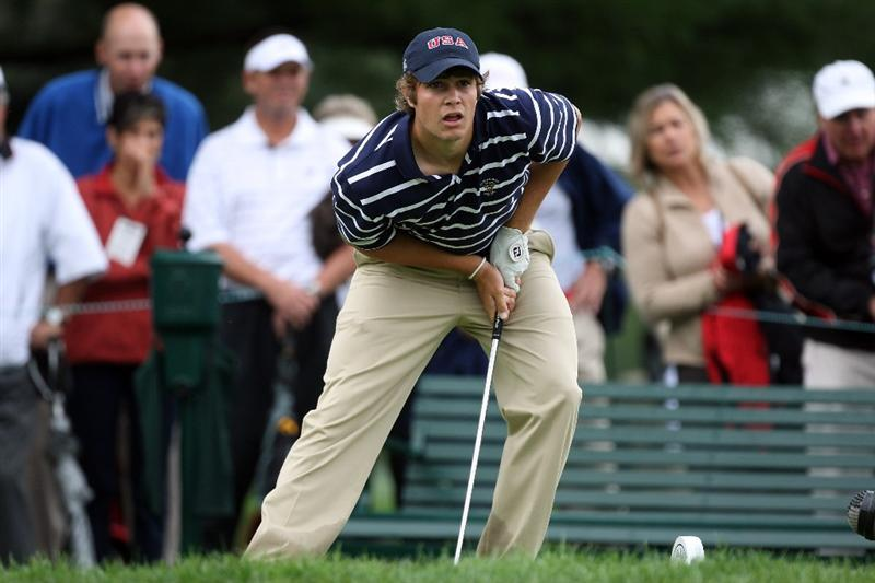 ARDMORE, PA - SEPTEMBER 12:  Peter Uihlein of the USA plays his tee shot at the 9th hole during the morning foursome matches on the East Course at Merion Golf Club on September 12, 2009 in Ardmore, Pennsylvania  (Photo by David Cannon/Getty Images)