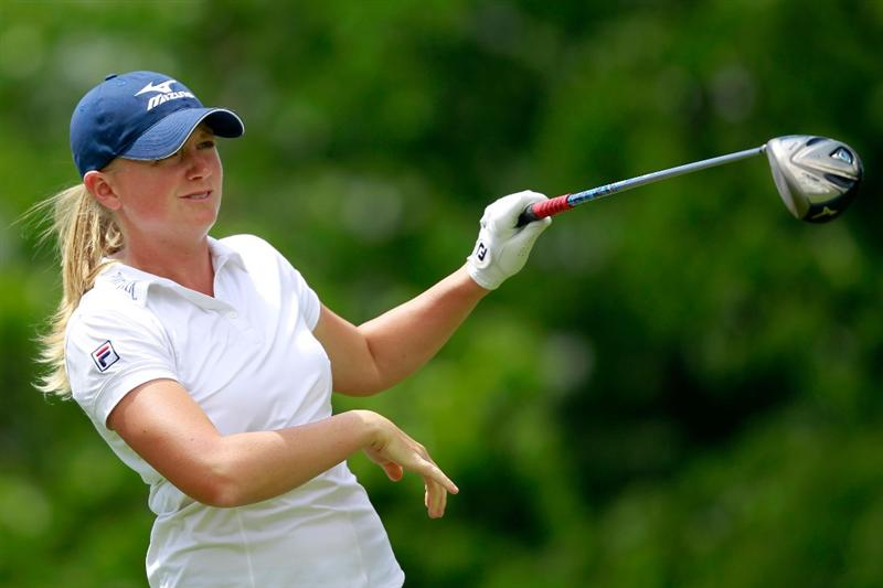 GLADSTONE, NJ - MAY 21:  Stacy Lewis hits her tee shot on the tenth hole in round three of the Sybase Match Play Championship at Hamilton Farm Golf Club on May 20, 2011 in Gladstone, New Jersey.  (Photo by Chris Trotman/Getty Images)