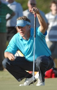 Michael Allen lines up a birdie putt on the ninth hole during the first round of the Fry's Electronics Open at Grayhawk Golf Club October 18, 2007 in Scottsdale, Arizona. PGA TOUR - 2007 Frys Electronics Open - First RoundPhoto by Marc Feldman/WireImage.com