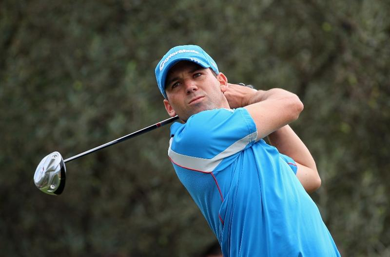 CASTELLO, SPAIN - OCTOBER 25:  Sergio Garcia of Spain plays his tee shot on the third hole during the third round of the Castello Masters Costa Azahar at the Club de Campo del Mediterraneo on October 25, 2008 in Castello, Spain.  (Photo by Stuart Franklin/Getty Images)