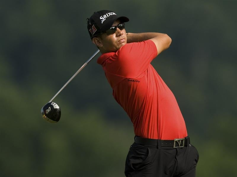 BRIDGEPORT, WV - JUNE 26: Bradley Iles of New Zealand watches his tee shot on the second hole during the second round of the Nationwide Tour Players Cup at Pete Dye Golf Club on June 26, 2009 in Bridgeport, West Virginia. (Photo by Chris Keane/Getty Images)