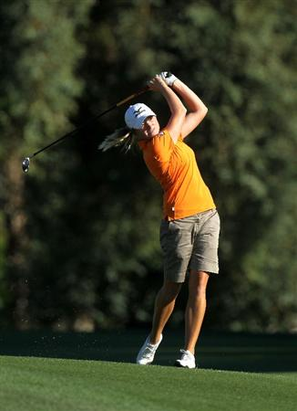 RANCHO MIRAGE, CA - APRIL 01:  Stacy Lewis hits her second shot on the second hole during the second round of the Kraft Nabisco Championship at Mission Hills Country Club on April 1, 2011 in Rancho Mirage, California.  (Photo by Stephen Dunn/Getty Images)
