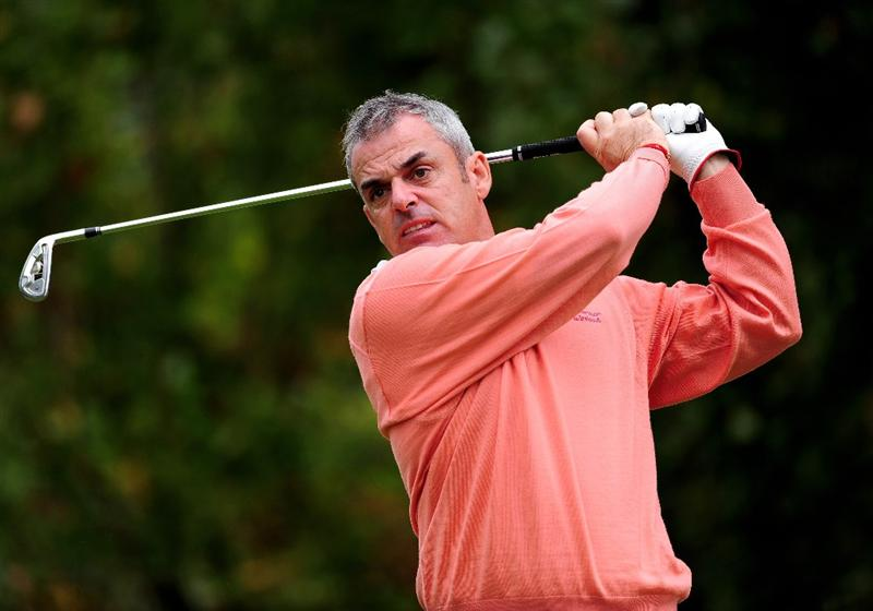 PARIS - SEPTEMBER 23:  Great Britian and Northern Ireland Captian Paul McGinley of Ireland plays his shot during the pro - am at The Vivendi Trophy with Severiano Ballesteros at Saint - Nom - La Breteche golf course on September 23, 2009 in Paris, France.  (Photo by Stuart Franklin/Getty Images)