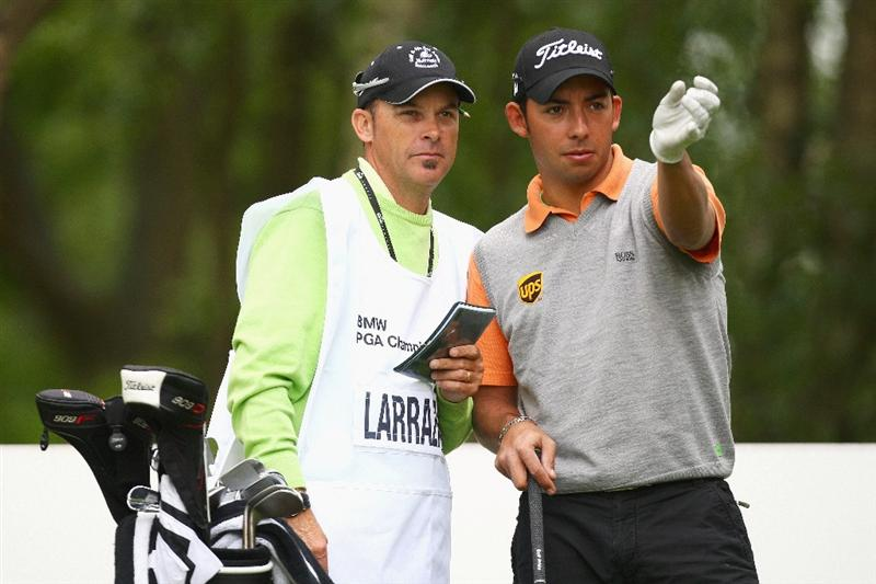 WENTWORTH, ENGLAND - MAY 20:  Pablo Larrazabal of Spain and caddie Rod Gutry speak on the tees during the Pro Am at the BMW PGA Championship at Wentworth on May 20, 2009 in Virginia Water, England.  (Photo by Ian Walton/Getty Images)