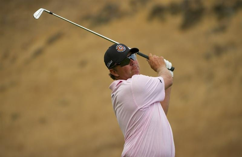 SAN MARTIN, CA - OCTOBER 16:  Bo Van Pelt makes a tee shot on the 16th hole during the third round of the Frys.com Open at the CordeValle Golf Club on October 16, 2010 in San Martin, California.  (Photo by Robert Laberge/Getty Images)