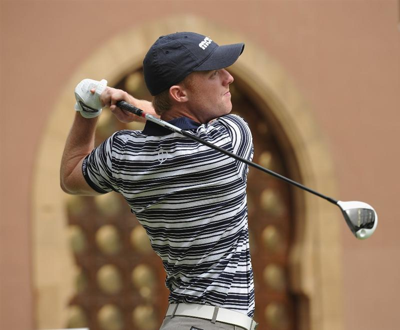 AGADIR, MOROCCO - APRIL 02:  David Horsey of England plays his tee shot on the nineth hole during the third round of the Trophee du Hassan II Golf at the Golf du Palais Royal on April 2, 2011 in Agadir, Morocco.  (Photo by Stuart Franklin/Getty Images)