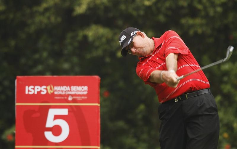 SHENZHEN, CHINA - MARCH 12:  Mike Cunning of USA in action during the second round of the ISPS Handa Senior World Championship presented by Mission Hills China and played on the World Cup Course, Mission Hills on March 12, 2011 in Shenzhen, Guangdong.  (Photo by Phil Inglis/Getty Images)