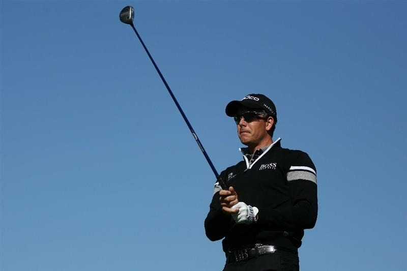 PEBBLE BEACH, CA - JUNE 16:  Henrik Stenson of Sweden watches his shot during a practice round prior to the start of the 110th U.S. Open at Pebble Beach Golf Links on June 16, 2010 in Pebble Beach, California.  (Photo by Andrew Redington/Getty Images)