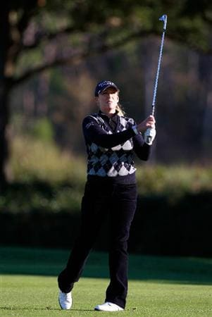 ORLANDO, FL - DECEMBER 03:  Cristie Kerr hits a shot on the 10th hole during the second round of the LPGA Tour Championship at the Grand Cypress Resort on December 3, 2010 in Orlando, Florida.  (Photo by Sam Greenwood/Getty Images)