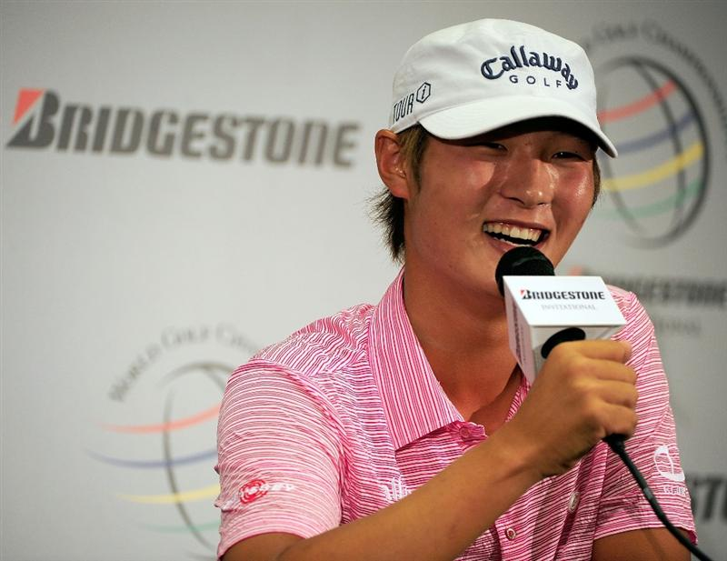 AKRON, OH - AUGUST 04:  Danny Lee of New Zealand speaks to the media prior to the WGC-Bridgestone Invitational on the South Course at Firestone Country Club on August 4, 2009 in Akron, Ohio.  (Photo by Sam Greenwood/Getty Images)