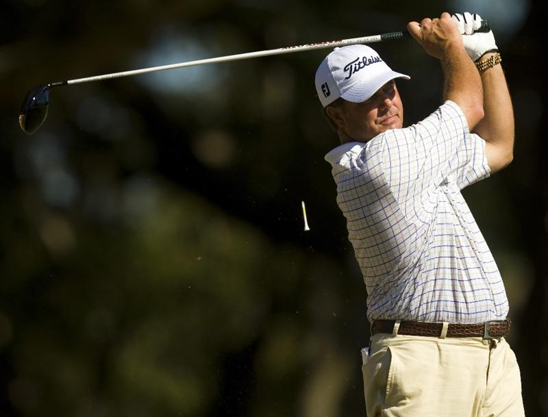 CHARLESTON, SC - OCTOBER 22: Vance Veazey watches his drive on the 16th hole during the first round of the Nationwide Tour Championship at Daniel Island on October 22, 2009 in Charleston, South Carolina. (Photo by Chris Keane/Getty Images)
