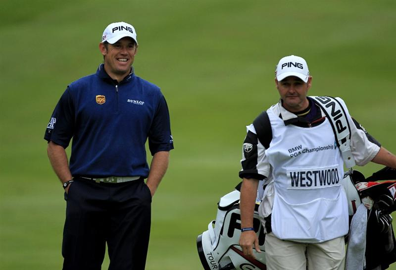 VIRGINIA WATER, ENGLAND - MAY 29:  Lee Westwood of England smiles on the 4th hole during the final round of the BMW PGA Championship  at the Wentworth Club on May 29, 2011 in Virginia Water, England.  (Photo by David Cannon/Getty Images)