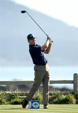 PEBBLE BEACH, CA - FEBRUARY 12:  Steve Elkington tees off on the 18th hole during the third round of the AT&T Pebble Beach National Pro-Am at the Pebble Beach Golf Links on February 12, 2011 in Pebble Beach, California.  (Photo by Ezra Shaw/Getty Images)
