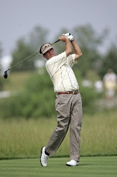 Bruce Lietzke hits a drive during the first round of the Champions Tour at the Bayer Advantage Classic in Overland Park, KS on June 10, 2005.Photo by G. Newman Lowrance/WireImage.com