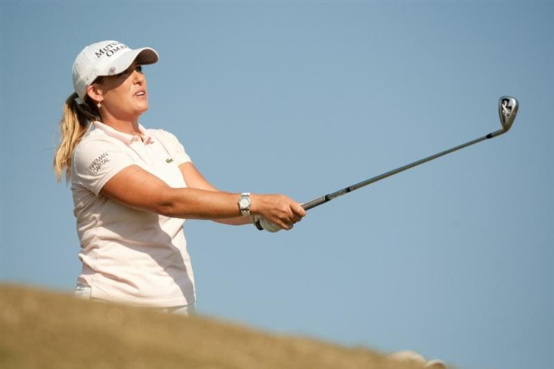 PRATTVILLE, AL - OCTOBER 10: Cristie Kerr watches a tee shot during the final round of the Navistar LPGA Classic at the Senator Course at the Robert Trent Jones Golf Trail on October 10, 2010 in Prattville, Alabama. (Photo by Darren Carroll/Getty Images)