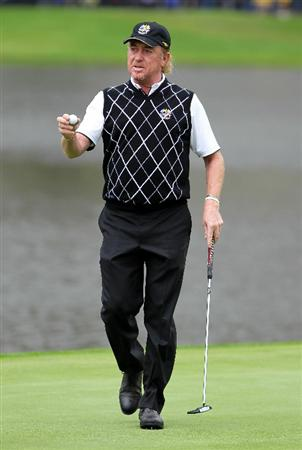 NEWPORT, WALES - OCTOBER 02:  Miguel Angel Jimenez of Spain reacts during the rescheduled Afternoon Foursome Matches during the 2010 Ryder Cup at the Celtic Manor Resort on October 2, 2010 in Newport, Wales.  (Photo by Jamie Squire/Getty Images)