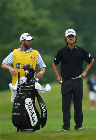 OAKVILLE, ONTARIO, CANADA - JULY 25: Kevin Na waits to play his second shot on the eighth hole during round two of the RBC Canadian Open at Glen Abbey Golf Club on July 25, 2009 in Oakville, Ontario, Canada.  (Photo by Chris McGrath/Getty Images)