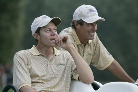 Nick O'Hern and Captain's Assistant Ian Baker Finch of the International team during the second round of The Presidents Cup at Robert Trent Jones Golf Club in Prince William County, Virginia on September 23, 2005.Photo by Sam Greenwood/WireImage.com