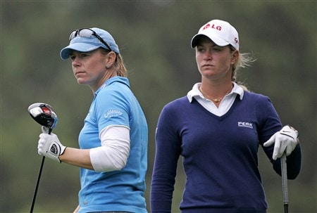 WILLIAMSBURG, VA - MAY 8: Annika Sorenstam of Sweden (L) and Suzann Pettersen of Norway stand on the 8th tee during the first round of the Michelob Ultra Open at Kingsmill Resort & Spa on May 8, 2008 in Williamsburg, Virginia. (Photo by Hunter Martin/Getty Images)