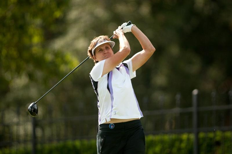 DANVILLE, CA - OCTOBER 16: Michele Redman follows through on a tee shot  during the third round of the CVS/Pharmacy LPGA Challenge at Blackhawk Country Club on October 16, 2010 in Danville, California. (Photo by Darren Carroll/Getty Images)