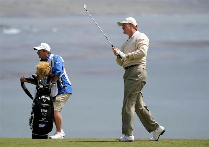 PEBBLE BEACH, CA - JUNE 20:  Ernie Els of South Africa hits his second shot on the eighth hole during the final round of the 110th U.S. Open at Pebble Beach Golf Links on June 20, 2010 in Pebble Beach, California.  (Photo by Harry How/Getty Images)