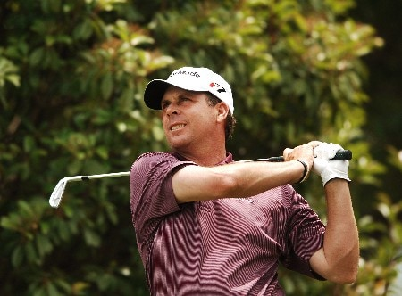 Doug Barron hits from the fifth tee during the final round of the 2005 EDS Byron Nelson Championship at TPC Los Colinas in Los Colinas, Texas May 15, 2005.Photo by Steve Grayson/WireImage.com