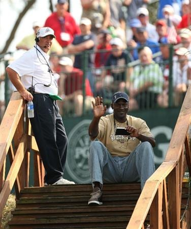 LOUISVILLE, KY - SEPTEMBER 20:  Basketball legend Michael Jordan watched the golf during the afternoon four-ball matches on day two of the 2008 Ryder Cup at Valhalla Golf Club on September 20, 2008 in Louisville, Kentucky.  (Photo by Ross Kinnaird/Getty Images)