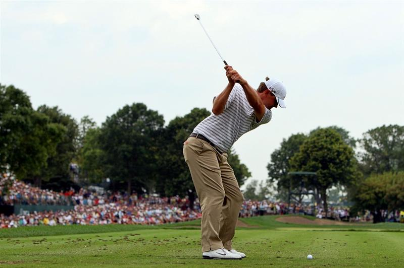 CHASKA, MN - AUGUST 15:  Lucas Glover hits his tee shot on the eighth hole during the third round of the 91st PGA Championship at Hazeltine National Golf Club on August 15, 2009 in Chaska, Minnesota.  (Photo by Streeter Lecka/Getty Images)