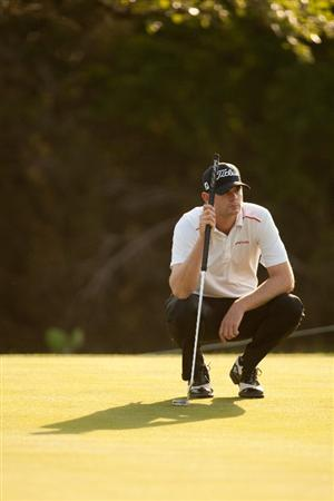SAN ANTONIO, TX - APRIL 15: Brendan Steele lines up a puttduring the second round of the Valero Texas Open at the AT&T Oaks Course at TPC San Antonio on April 15, 2011 in San Antonio, Texas. (Photo by Darren Carroll/Getty Images)