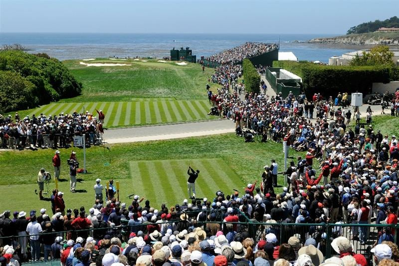 PEBBLE BEACH, CA - JUNE 17:  K.J. Choi of South Korea watches his tee shot on the 17th hole during the first round of the 110th U.S. Open at Pebble Beach Golf Links on June 17, 2010 in Pebble Beach, California.  (Photo by Harry How/Getty Images)