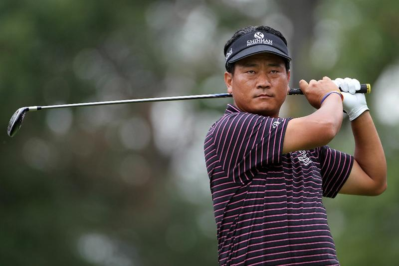 LEMONT, IL - SEPTEMBER 09:  K.J. Choi of South Korea tees off from the third hole during the first round of the BMW Championship at Cog Hill Golf & Country Club on September 9, 2010 in Lemont, Illinois.  (Photo by Jamie Squire/Getty Images)