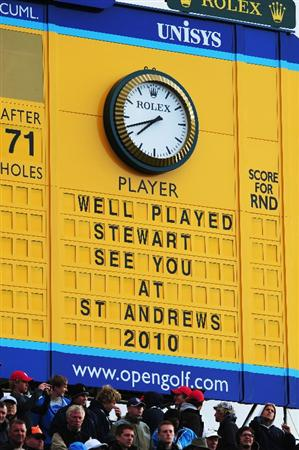 TURNBERRY, SCOTLAND - JULY 19:  General View of the Leaderboard on the 18th green during the final round of the 138th Open Championship on the Ailsa Course, Turnberry Golf Club on July 19, 2009 in Turnberry, Scotland.  (Photo by Stuart Franklin/Getty Images)
