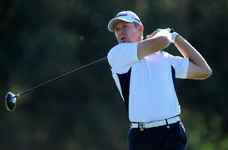 MADRID, SPAIN - MAY 30:  James Kingston of South Africa plays his tee shot on the fourth hole during the final round of the Madrid Masters at Real Sociedad Hipica Espanola Club De Campo on May 30, 2010 in Madrid, Spain.  (Photo by Stuart Franklin/Getty Images)