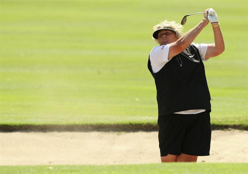 MELBOURNE, AUSTRALIA - FEBRUARY 03:  Laura Davies of England plays a shot during day one of the Women's Australian Open at The Commonwealth Golf Club on February 3, 2011 in Melbourne, Australia.  (Photo by Lucas Dawson/Getty Images)