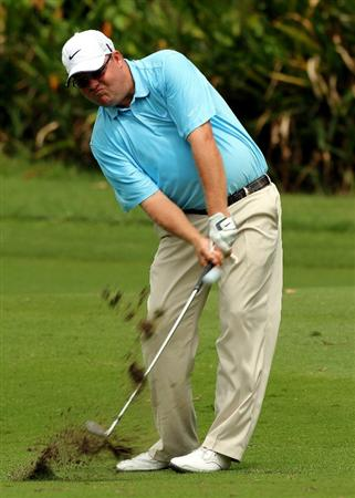 KUALA LUMPUR, MALAYSIA - OCTOBER 29: Carl Pettersson of Sweden hits his 2nd shot on the 1st hole during day two of the CIMB Asia Pacific Classic at The MINES Resort & Golf Club on October 29, 2010 in Kuala Lumpur, Malaysia.  (Photo by Stanley Chou/Getty Images)