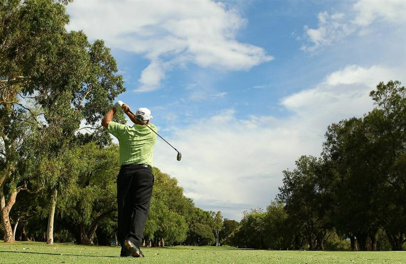 PERTH, AUSTRALIA - NOVEMBER 21:  Peter Senior of Australia plays an approach shot on the 16th hole during day three of the 2010 Australian Senior Open at Royal Perth Golf Club on November 21, 2010 in Perth, Australia.  (Photo by Paul Kane/Getty Images)