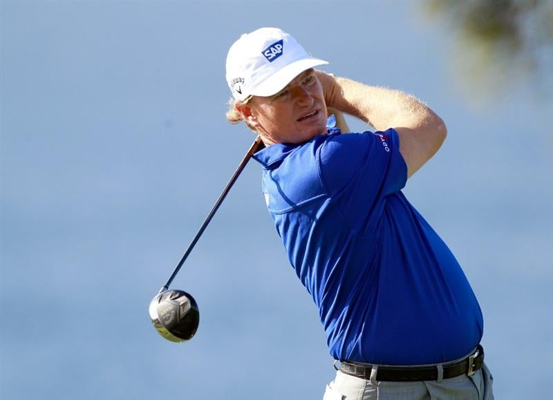 KAPALUA, HI - JANUARY 04:  Ernie Els of South Africa hits a shot during a practice round prior to the Hyundai Tournament of Champions at the Plantation course on January 4, 2011 in Kapalua, Hawaii.  (Photo by Sam Greenwood/Getty Images)