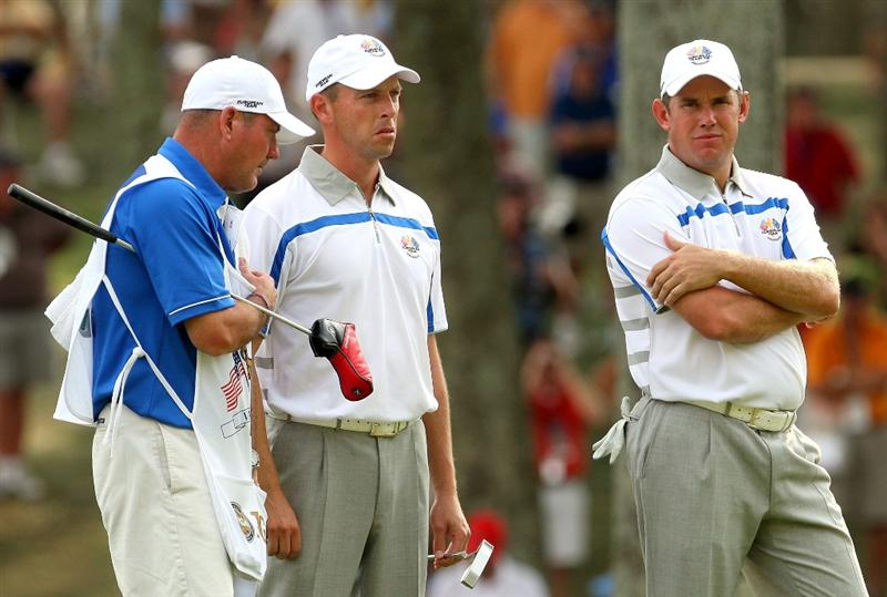 LOUISVILLE, KY - SEPTEMBER 19:  Soren Hansen (L) and Lee Westwood of the European Tour stand near the 16th green during the afternoon four-ball matches on day one of the 2008 Ryder Cup at Valhalla Golf Club on September 19, 2008 in Louisville, Kentucky.  (Photo by Andrew Redington/Getty Images)