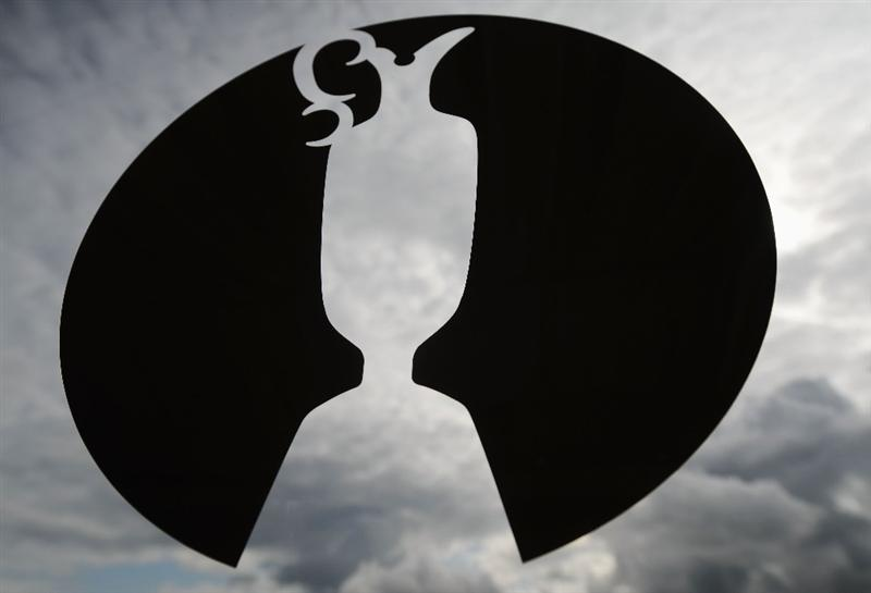 TURNBERRY, SCOTLAND - JULY 15:  The Claret Jug Open Championship logo is seen during a practice round prior to the 138th Open Championship on the Ailsa Course, Turnberry Golf Club on July 15, 2009 in Turnberry, Scotland.  (Photo by Harry How/Getty Images)