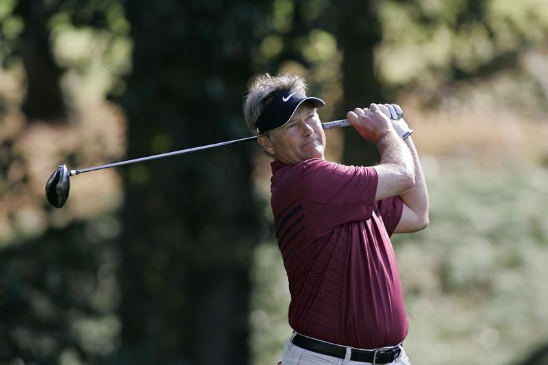 TIMONIUM, MD - OCTOBER 04: John Cook hits his drive on the 13th hole during the final round of the Constellation Energy Senior Players Championship at Baltimore Country Club/Five Farms (East Course) held on October 4, 2009 in Timonium, Maryland (Photo by Michael Cohen/Getty Images)