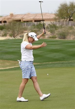 PHOENIX, AZ - MARCH 20:  Brittany Lincicome reacts after missing a birdie putt attempt on the seventh hole during the final round of the RR Donnelley LPGA Founders Cup at Wildfire Golf Club on March 20, 2011 in Phoenix, Arizona.  (Photo by Stephen Dunn/Getty Images)