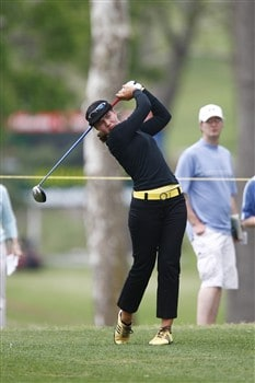 BROKEN ARROW, OK - MAY 01: Vicky Hurst tees off on the 9th hole during the first round of the SemGroup Championship presented by John Q. Hammons on May 1, 2008 at Cedar Ridge Country Club in Broken Arrow, Oklahoma. (Photo by G. Newman Lowrance/Getty Images)