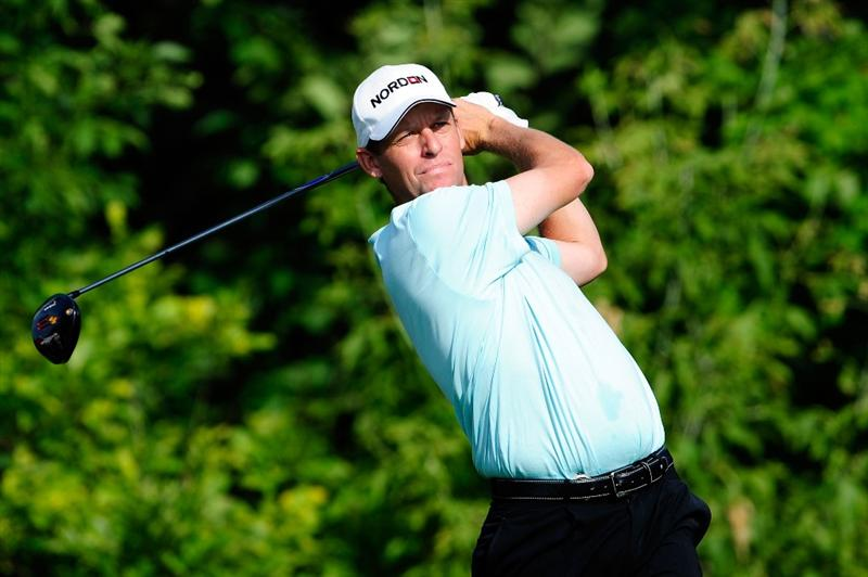 CHASKA, MN - AUGUST 13:  Anders Hansen of Denmark watches his tee shot on the tenth hole during the first round of the 91st PGA Championship at Hazeltine National Golf Club on August 13, 2009 in Chaska, Minnesota.  (Photo by Sam Greenwood/Getty Images)