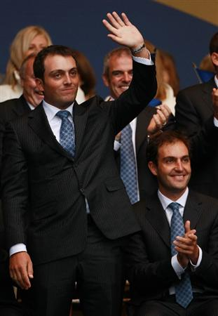 NEWPORT, WALES - SEPTEMBER 30:  Francesco Molinari of Europe acknowledges the crowd during the Opening Ceremony prior to the 2010 Ryder Cup at the Celtic Manor Resort on September 30, 2010 in Newport, Wales.  (Photo by Andrew Redington/Getty Images)