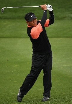 MARANA, AZ - FEBRUARY 22:  K.J. Choi of South Korea hits his second shot on the 18th hole during the third round matches of the WGC-Accenture Match Play Championship at The Gallery at Dove Mountain on February 22, 2008 in Marana, Arizona.  (Photo by Travis Lindquist/Getty Images)