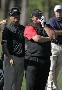 Pat Perez and Jason Gore during a practice round for THE PLAYERS Championship held at the TPC Stadium Course in Ponte Vedra Beach, Florida on Wednesday, March 22, 2006.Photo by Michael Cohen/WireImage.com