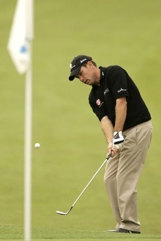 Brian Davis chips to the eighteenth green during the first round of the 2005 Barclays Scottish Open at the Loch Lomond Golf Club. July 7, 2005Photo by Pete Fontaine/WireImage.com