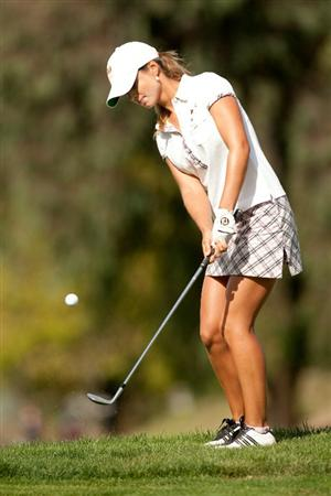 DANVILLE, CA - OCTOBER 16: Beatriz Recari of Spain chips during the third round of the CVS/Pharmacy LPGA Challenge at Blackhawk Country Club on October 16, 2010 in Danville, California. (Photo by Darren Carroll/Getty Images)